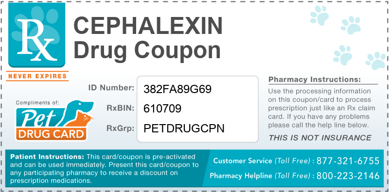 This Cephalexin coupon provides significant prescription savings at pharmacies nationwide