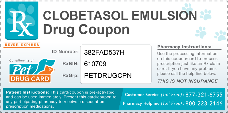 This Clobetasol Emulsion coupon provides significant prescription savings at pharmacies nationwide