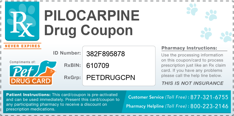 This Pilocarpine coupon provides significant prescription savings at pharmacies nationwide