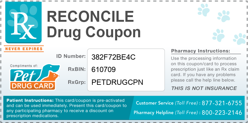 This Reconcile coupon provides significant prescription savings at pharmacies nationwide