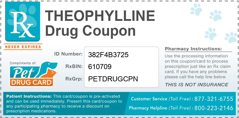 This Theophylline coupon provides significant prescription savings at pharmacies nationwide